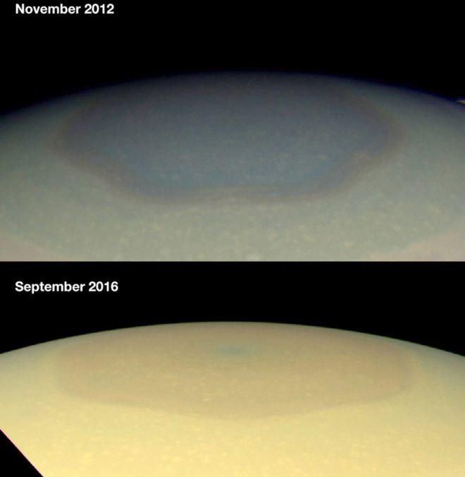 Гексагональное атмосферное образование на северном полюсе Сатурна изменило цвет