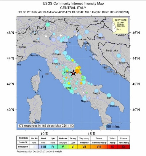 Землетрясение в Италии 30 октября. Карта