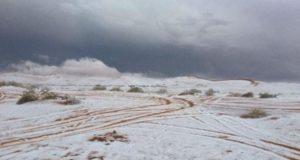 В Саудовской Аравии аномальная погода выпал снег